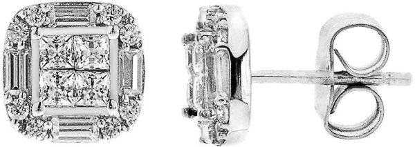 White Gold Diamond Cushion Cut Stud Earrings