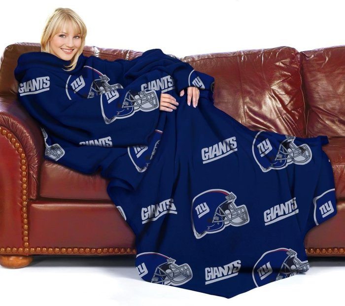 New York Giants Adult Comfy Throw Blanket with Sleeves