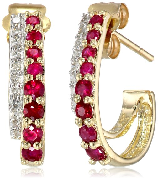 14k Yellow Gold Round Ruby White Diamond Earrings