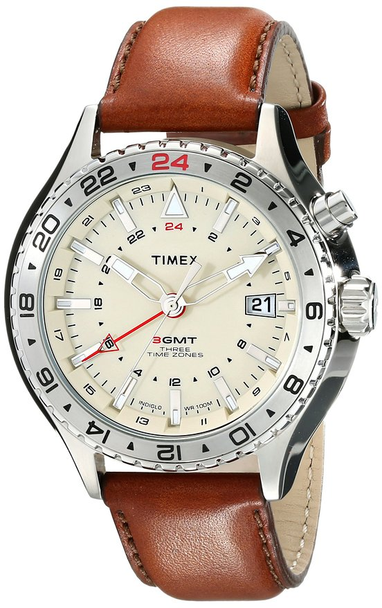 Timex Intelligent Quartz Watch with Brown Leather Band